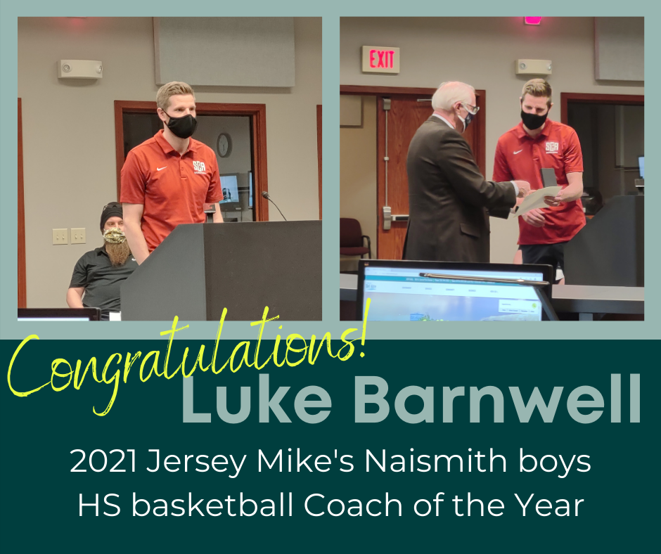 Mayor Benage recognizing Coach Luke Barnwell on being named 2021 Naismith HS Coach of the Year.