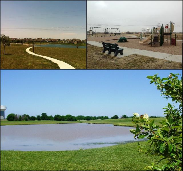 Three images, featuring a walking trail, a pond, and a composite playground with swingsets